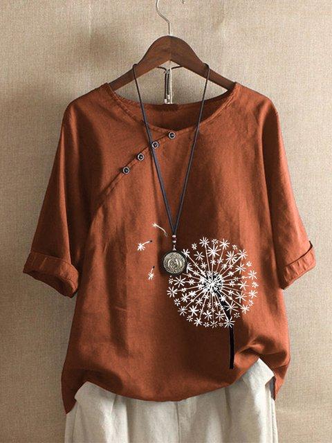 Casual Dandelion Print Cotton Shirts & Tops