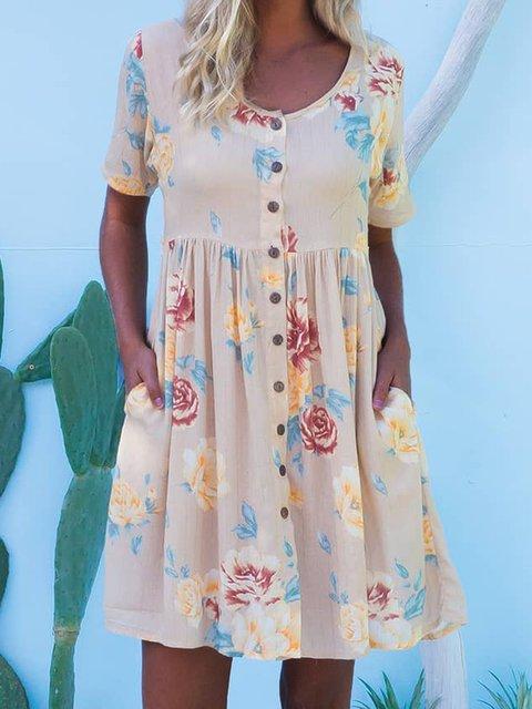 Summer Floral Mini Dress Plus Size Short Sleeve Pockets Dresses
