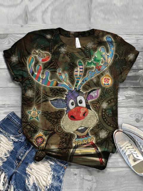 Deer Floral-Print Casual Tops