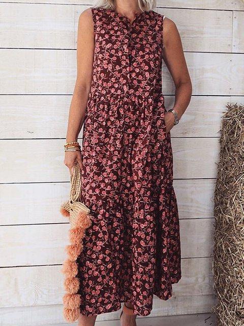 Women Floral Pockets Sleeveless Summer Maxi Dresses