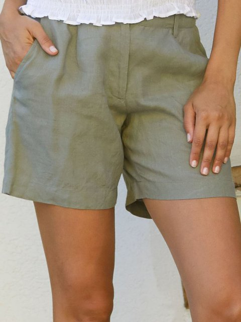 Green Gray Cotton-Blend Casual Pants