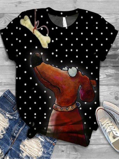 Black Animal Short Sleeve Floral-Print Cotton Shirts & Tops