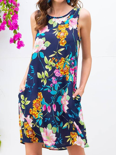 Summer Sleeveless Mini Dress Plus Size Floral Dresses