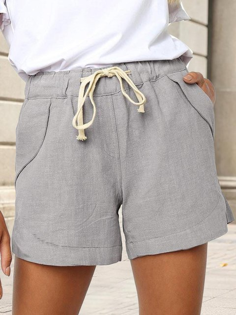 Solid Color Side Pocket Drawstring Casual Shorts