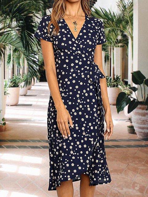Print Floral Short Sleeves V-neck Casual Dresses