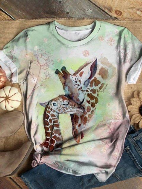 Plus Size Animal Vintage Crew Neck Cotton-Blend Shirts & Tops