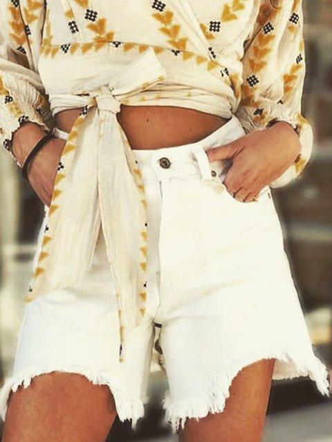 Pockets Denim Shorts Women Summer Pants