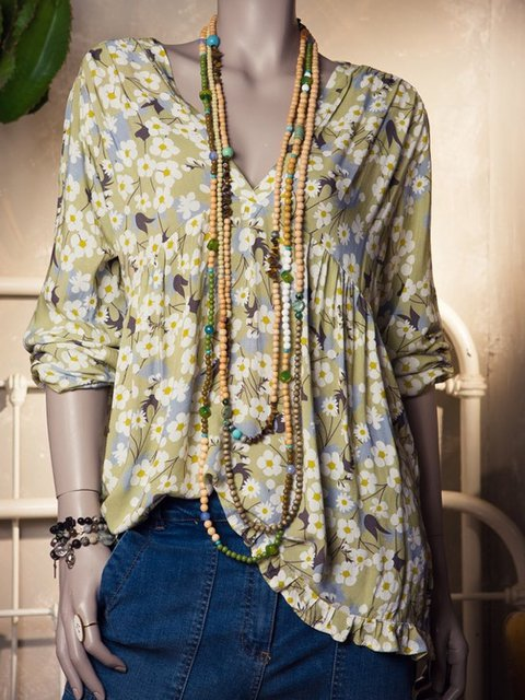 Floral Long Sleeve Shirts Women Plus Size Blouses