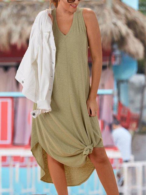 Casual V-neck Soft Cotton Maxi Dress