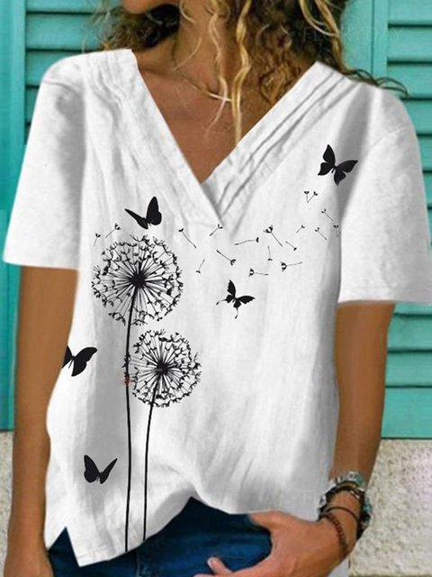 White Casual Printed Ruched Short Sleeve Shift V Neck Shirts & Tops