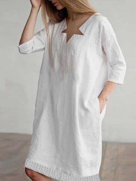 V Neck Casual Solid Cotton-Blend Dresses