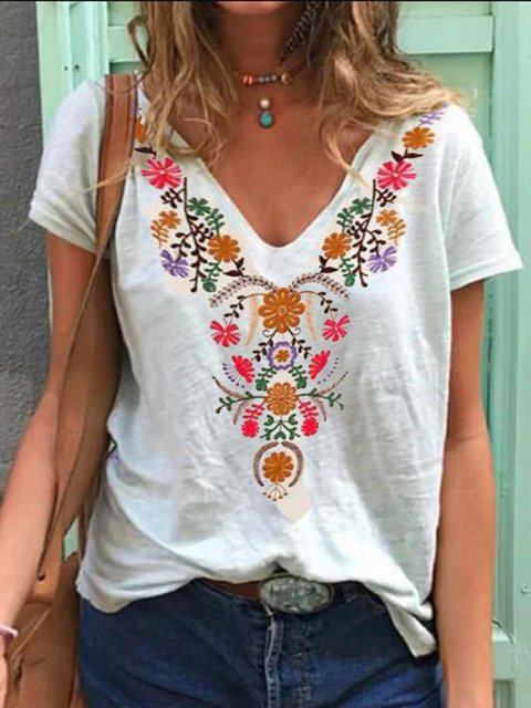Vintage Casual Plus Size Floral Printed Tee Shirts Tops