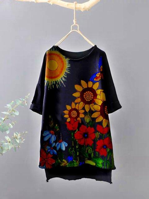 Black Cotton-Blend Floral Short Sleeve Shirts & Tops