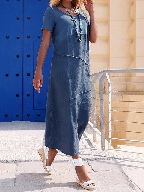 Navy Blue Shift Plain Short Sleeve Dresses