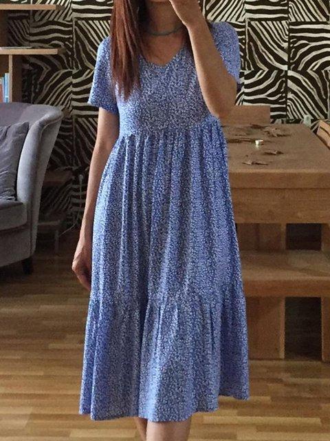 Summer Floral Midi Dress Plus Size Dresses