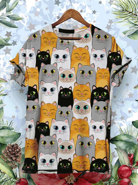 Cat Pattern Floral-print Shirts & Tops