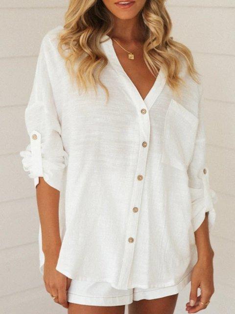 Long Sleeve Cotton V Neck Shirts & Tops