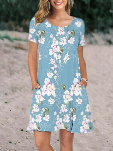 Women's Summer Casual T Shirt Dresses Short Sleeve Swing Holiday Dress Pockets