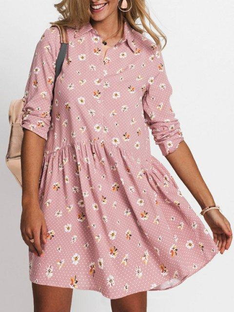 Pink Casual Shirt Collar Dresses