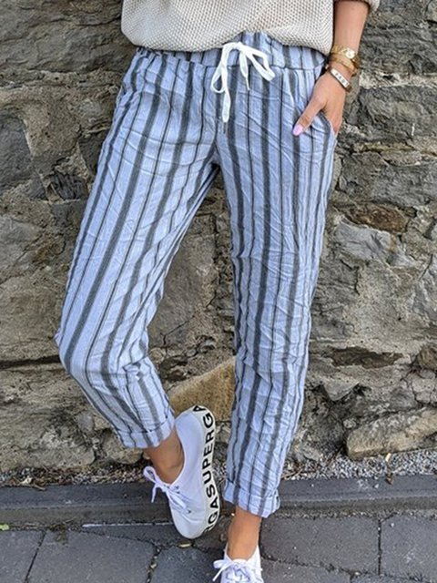 Women Striped Pockets Drawstring Casual Capri Pants