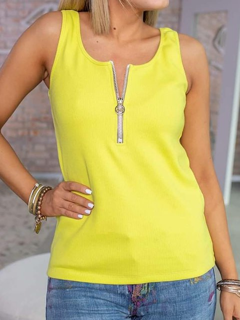 Women Zipper Sleeveless Solid Casual Tank Tops
