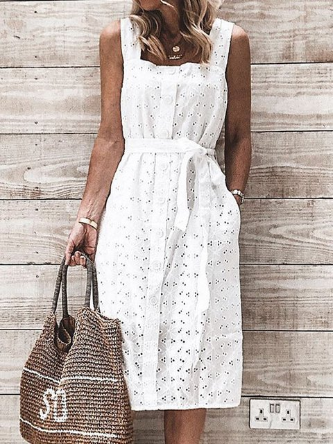 Women Caftan Crocheted Pockets Square Neck Holiday Dresses
