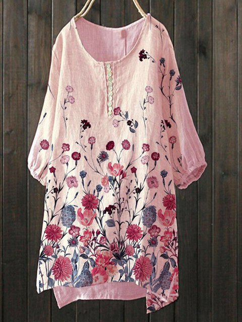 Pink Short Sleeve Sweet Cotton-Blend Shirts & Tops
