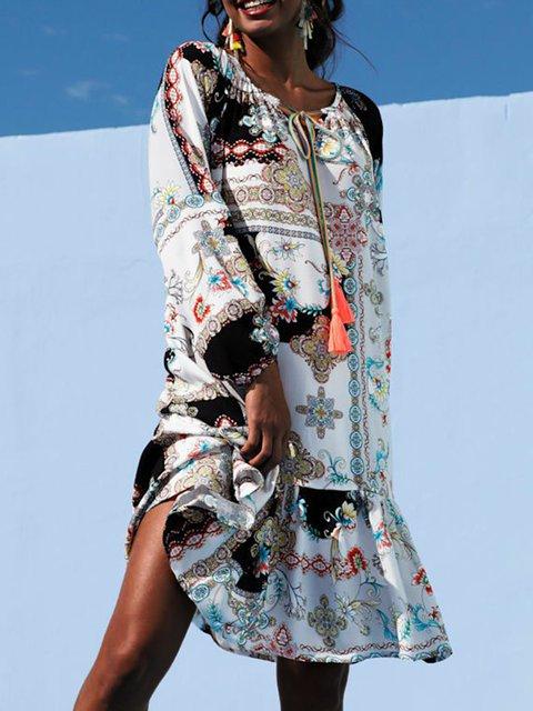 Multicolor Shift Scoop Neckline Casual Dresses