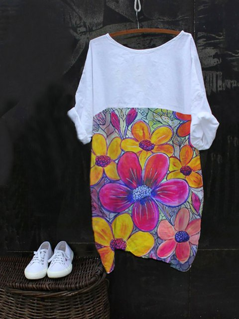 White Floral Cotton-Blend Short Sleeve Shirts & Tops