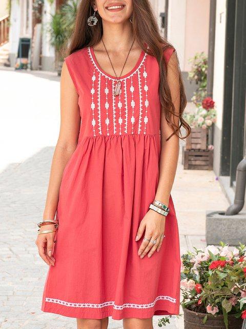 Women Boho Embroidery Cotton Sleeveless Dresses