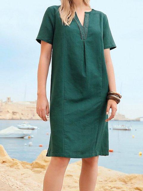 Black Short Sleeve Cotton-Blend Dresses