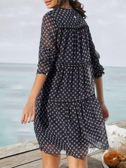 Navy Blue Crew Neck Long Sleeve A-Line Dresses