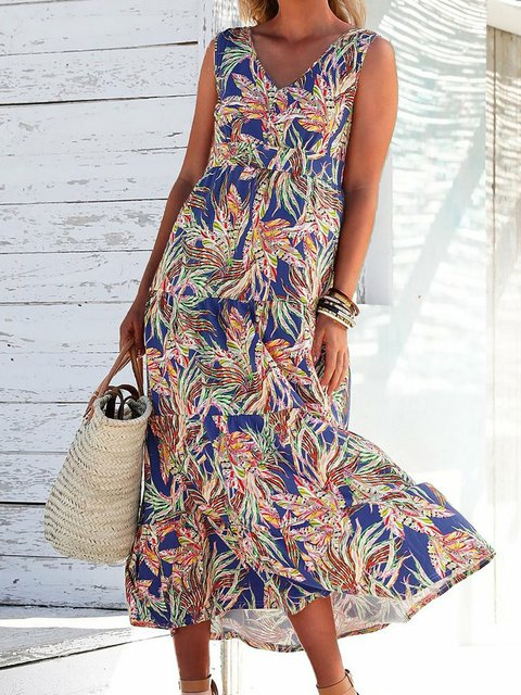 Blue Floral A-Line Cold Shoulder V Neck Dresses