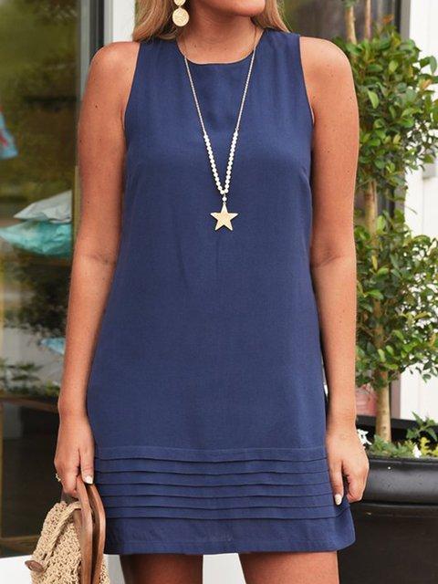 Casual Solid Color O-neck Mini Dress