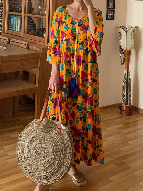 Floral Maxi Dress Plus Size 3/4 Sleeve Dresses
