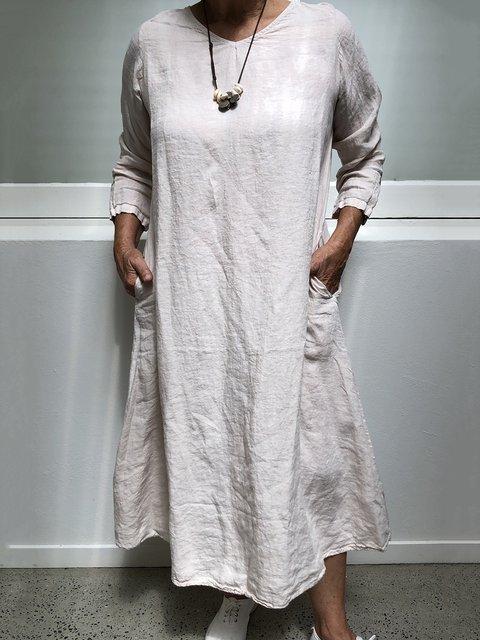 Solid Pockets Midi Dress Plus Size Long Sleeve Dresses