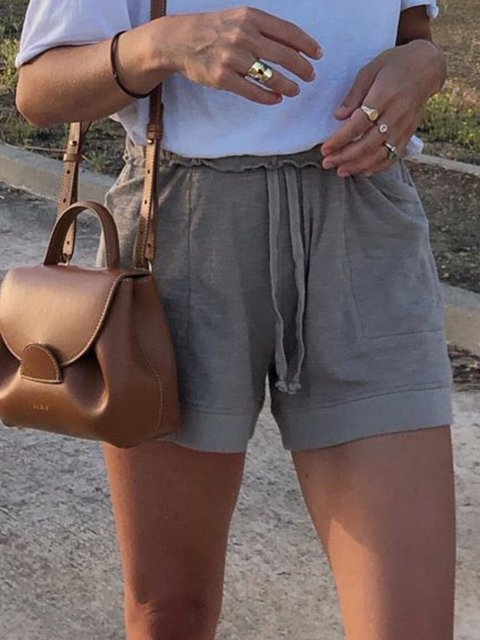 Deep Gray Solid Pockets Casual Pants
