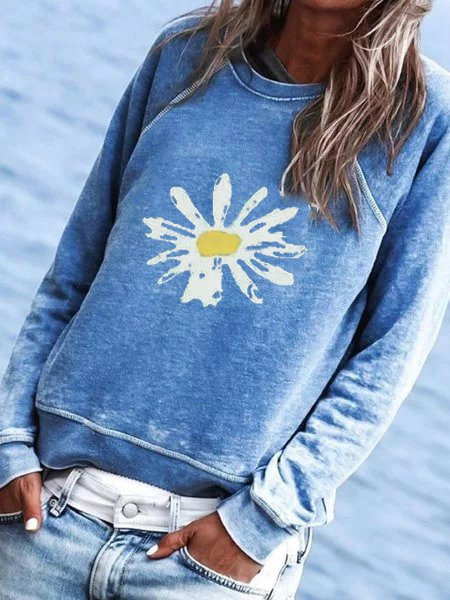 Cotton-blend Floral Printed Crew Neck Tops