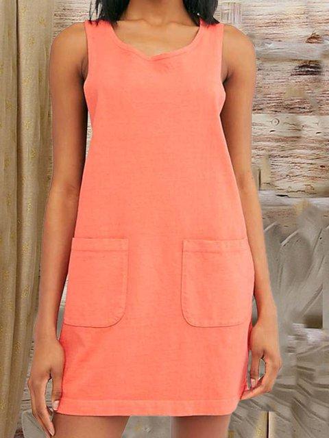 Cotton Linen Pocket Loose Sleeveless Dress