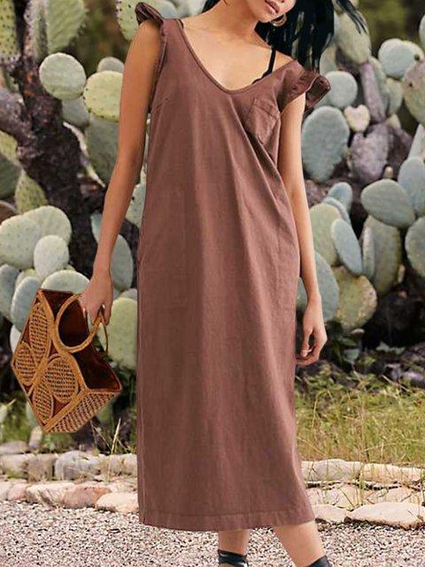 V-neck Sleeveless Wood Ear Strap Dress