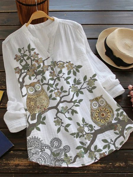 White Cotton-Blend Vintage Shirts & Tops