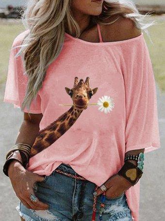 Giraffe print casual shirt and top