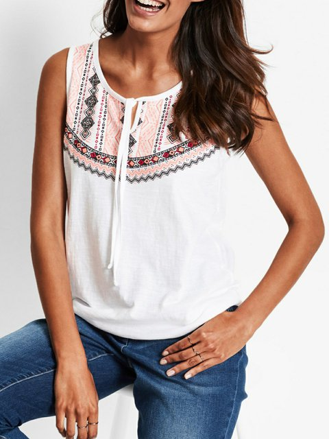 White Cold Shoulder Tribal Cotton-Blend Shirts & Tops