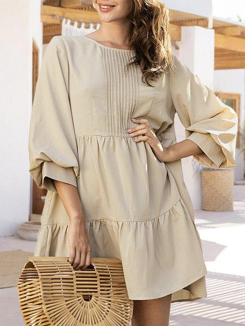 Khaki Shift Casual Mini Dress