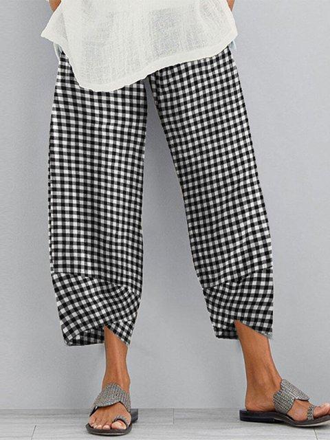 Cotton-blend Checkered/plaid Casual Pants