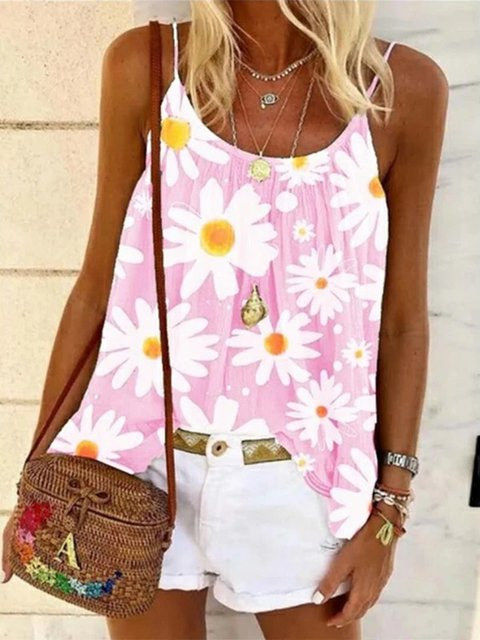 Pink Date Daily Seaside Floral A-Line Sweet Spaghetti Sleeveless Vests