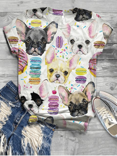 Dog Pattern Casual Floral-Print Shirts & Tops