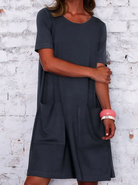 Navy Blue Plain Casual Knitted Dresses