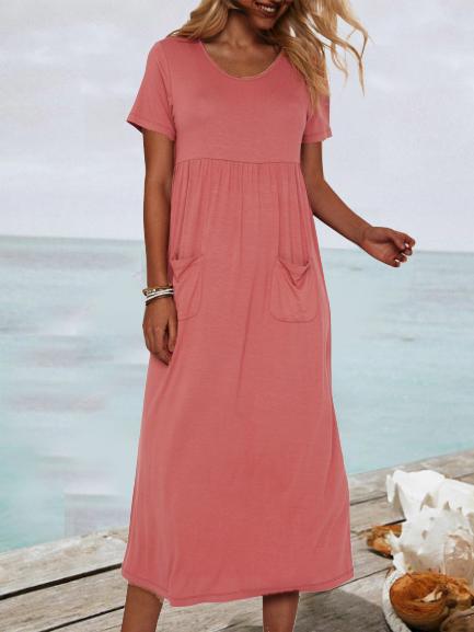 Pink Shift Casual Plain Dresses