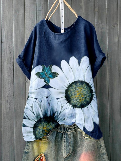 Deep Blue Pastoral Floral Shirts & Tops